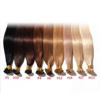 Wholesale Cheap Keratin - Keratin U Tip Human Hair Extension Cheap Brazilian Human Hair Extensions U Tips Stick Malaysian Silky Straight 18-24inch U tip hair 9 color