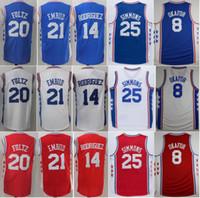 Wholesale Men Rodriguez - 2017 Basketball 20 Markelle Fultz 21 Joel Embiid Jersey 14 Sergio Rodriguez 25 Ben Simmons Basketball Jerseys 8 Jahlil Okafor Red Blue White