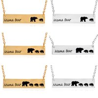 Wholesale 6Pcs Fashion Jewelry Mama Bear Baby Bear Pendant Necklaces For Women Girls Cute Silver Gold Color Long Chain Necklaces