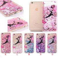 Wholesale Iphone Love Flower Case - Quicksand Liquid Glitter Flamingo Tinkerbell TPU Hard PC Case For Iphone 8 8Plus 7 I7 6S 6 plus Bling Love Flower Dynamic Skin Cover Luxury