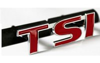 Wholesale Car Grills Wholesale - 3D Metal Red TSI Logo Car Front Grill Badge Decal TIGUAN Grille Hood Emblem