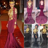Wholesale One Shoulder Long Eveing Dresses - African Burgundy Mermaid Prom Dresses High Neck Sexy Backless Long Sleeves Gold Appliques Sequined Vintage Formal Party Dresses Eveing Wear