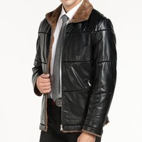 Wholesale Leather Sleeved Jackets Men - New Warm Winter Sheepskin Coat Mens Leather Jacket Fleece Thick Plus Size Clothing Coats Long Sleeved Outwears Clothing