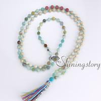 Wholesale Tibetan Tassel Pendants - 108 meditation beads tibetan hindu prayer beads yoga mala bracelet tassel pendant necklace wholesale spiritual healing crystal jewelry