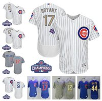 Wholesale Gold 12 - 2017 World Series Champions Men's Chicago Cubs gold 9 Javier Baez 12 Kyle Schwarber 17 Kris Bryant 44 Anthony Rizzo baseball jerseys