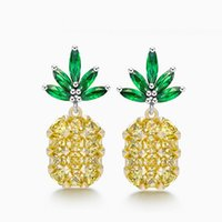 Wholesale Sanbuzhi Brand Summer Fashion Yellow Big Crystal Pineapple Earring For Women s Ladies Sweet Stud Cute Style Earring Piercing ZE56