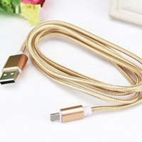 Wholesale Cable Usb Micro Mini Iphone - USB Data Cable Fast Charger Data Cable 1.5M Long Nylon Braided Wire Metal Plug Micro USB Cable for iphone 6 6S Xiaomi mini Samsung Sony HTC