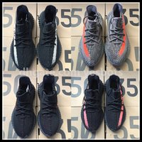 Wholesale Ems Shoes - NEW DHL EMS Kanye West Sply Boost 350 V2 zebra Black White Green Glow yesbots Men Women ultra nmd smith Running Shoes size 36-49