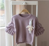 Wholesale Pink Pearl Sweaters - Toddler kids fashion sweater baby girls cotton Flare sleeve falbala cartoon rabbit pearls pullover infant knitted clothing C0421