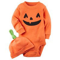 Wholesale Halloween Pumkin - Children Halloween pumkin outfits Cartoon pumkin printing 1hat+1romper 2pcs set Halloween baby suits kids Clothing top quality