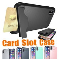 Wholesale Hard Plastic Credit Card Case - Brushed Credit Card Slot Holder With kickstand Armor Rugged Hard Slim Shockproof Cover Case For iPhone X 8 7 Plus 6S 6 Samsung Galaxy S9 S8