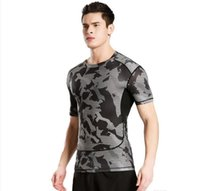 Wholesale camouflage uniforms online - Short sleeved fitness clothes men s sports outdoor camouflage uniforms dry clothes basketball running T shirts