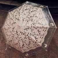 кошачьи зонтики оптовых-Cat Pattern Белые Зонтики Мода Имитация Кружева Прозрачный Длинная Ручка Зонтик Для Женщин Подарок Открытый Статьи Инструменты 12md C R