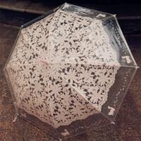 kedi şemsiyeleri toptan satış-Kedi Desen Beyaz Şemsiye Moda İmitasyon Dantel Şeffaf Uzun Saplı Şemsiye Kadınlar Hediye Için Açık Makaleler Araçları 12md C R