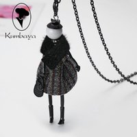 Wholesale Dolls Necklace - Top-rated New Arrival Cute Doll Necklace Long Lovely Necklace Pendants Bag Charms Women Jewelry Female wholesaler free shipping NS415