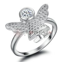Wholesale Gold Rhinestone Wings Ring - Yoursfs Angel Wing Ring Silver Genuine Austria Crystal Cute Fairy Rings For Women Jewelry Girlfriend Wife Mother Wedding Party