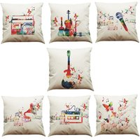 Wholesale music pillow cases - Fashion Geometric Music Symbols Linen Cushion Cover Home Office Sofa Square Pillow Case Decorative Cushion Covers Pillowcases Without Insert