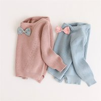 Wholesale Children Wool Sweater - Kids Girls Pullover Sweater Baby Girls Bow Design Cardigan Sweaters Infant Princess Knitted Coat 2017 Children Jacket Outwear Clothing B740