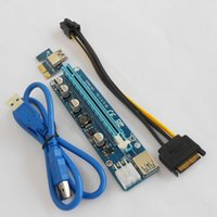 Wholesale Wholesale Power Adapter Cords - 2017 Newest Ver008A 60CM PCI Express PCI-E 1X to 16X Riser Card Extender PCIE Adapter + USB 3.0 Cable & 15Pin SATA to 6Pin IDE Power Cord