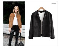 Wholesale Ladies Gray Leather Jacket - Wholesale- Special Offer Aelegantmis Fashion Patchwork Brown Suede Leather Jackets Women 2017 Spring Loose cardigan Tops Ladies