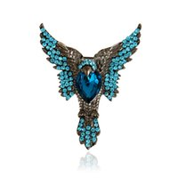 Wholesale Wholesale Eagle Brooch - Wholesale- Animals Brooch New Fashion Personalized Women Rhinestone Brooch pin Luxury Halloween High Quality Crystal Animals Eagles Brooch