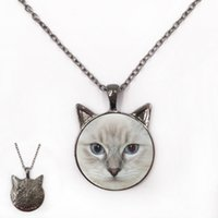 Wholesale Rhinestone Body Art - grey cat face art photo necklace Cartoon ragdoll doll body cat Pendant gift for cat lover