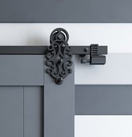 spring door closer hardware - DIYHD FT FT Ornate Cut Black Iron Sliding Barn Door Hardware With Spring in Soft Close Stop