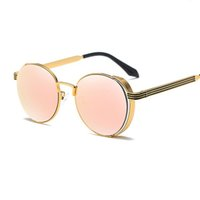 Wholesale Rose Glass Shade - New Metal Round Sunglasses Women Lucury Sun Glasses For Men Rose Gold Mirrored Shades Luxury Brand Designer Steampunk Sunglass oculos de sol