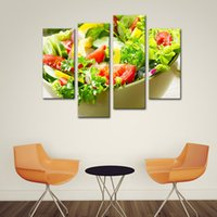 Wholesale framed paintings fruit - 4 Panels Paintings Wall Art Salad Vegetable and Fruit Picture Print On Canvas for Restaurant Kitchen Decor Wooden Framed Ready to Hang