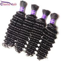 Wholesale bulks hair for cheap online - Top Deep Wave Braiding Human Hair Bulk For Micro Braid No Weft Cheap Unprocessed Deep Curly Peruvian Hair Weave Bundles In Bulk Deals