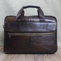 Wholesale Men Leather Bags Discount - business men briefcase cow leather brown fashion big dress handbags man shoulder crossbody discount bags male laptop bags