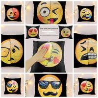 Wholesale Decorative Sofa Cushion - Reversible Sequin emoji Pillow Case cover Cushion Emoji Smiley Face Pillow Magical Double Sequins Pillow cases Decorative Sofa Décor LJJK703