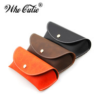 Barato Bolsa De Couro Vintage-WHO CUTIE 2017 Durable PU Leather Professional Óculos Caso Vintage Óculos de sol Óculos Eyewear Storage Holder Retro Box Bag