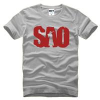 ingrosso mens stampate magliette in linea-Anime Sword Art Online SAO Stampato Mens T Shirt da uomo Tshirt Moda 2017 Manica corta O Neck T-shirt in cotone Tee Camisetas Hombre