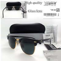 Wholesale High quality Glass lens Brand Designer Fashion Women Men Plank frame Coating Sunglasses Sport Vintage Sun glasses With box