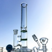 Wholesale Honeycomb Stand - Straight Tube Glass Bongs With Two Honeycomb Perculators Water Pipes Stand 29cm With an Ice Pinch Three Colors 18.8mm Joint 100x