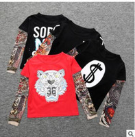Wholesale Tattoo Sleeve Children - Tattoo INS T-shirt Kids Hip Hop Style Animal T shirts Cartoon Letter Cotton Long Sleeve Tops Summer Toddler Tees Children T Shirts Tops J442