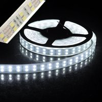 Wholesale Double Rows Waterproof Led Strip - led strip light 5050smd double row 600leds 5m DC12V waterproof with silicone tube IP65 daylight white warmwhite red green blue RGB led tape
