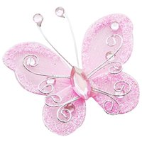 Wholesale Organza Rhinestone Butterflies - Wholesale- 10Pcs Mixed Organza Wire Rhinestone Butterfly Wedding Decorations For Scrapbook Home Decor Party Accessoriespink