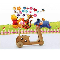 Wholesale Winnie Pooh Sticker Wallpaper - Cartoon Winnie the pooh wall stickers Children Bedroom Can remove PVC wallpaper animal flowers wall Decal