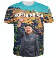 Wholesale Korea Top Tee - New Greative North Korea Kim Jong Un Funny Printed 3d Womens Mens T Shirt Crewneck T Shirt Short Sleeve Shirts Unisex Casual Tee Tops TX067