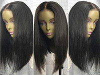 Wholesale Long Bob Cut Wigs - Hot Sale Virgin Indian Hair Silky Straight Long BOB Cut Lace Front Wig Full Lace Wig Free Shipping
