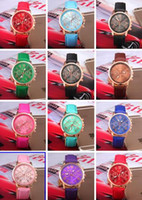 Wholesale Men Watches Bulk - 14 colors DHL Free Shipping Bulk Wholesale Geneva Quartz Wristwatch Pu Leather Strap Fashion Casual Watch for Lady Men Bulk 170729