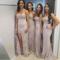 zarif aplike dantel yarık toptan satış-Zarif Uzun Gelinlik Modelleri Dantel Aplikler Mermaid Uzun Yarık Balo Elbise Seksi Nedime Elbisesi Düğün Törenlerinde