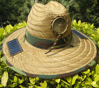Wholesale hat cap solar power - Outdoors Sunhat Solar Powered Fan Sun Hat Cap with Cooling Cool Fan for Fishing Hiking Tourism Free shipping Hats