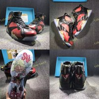 Wholesale Quality Fabrics China - 2017 AAA Quality Air Retro 7 VII Basketball Shoes Mens Real Sports Sneakers Authentic Charitable Black Red China Retros 7s Shoe Size 41-47