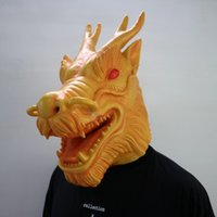 Wholesale Dragon Head Costume - Hot 2017 New Arrival Realistic Adult Full Head Animal Masks Halloween Party Costume Cosplay Mask Latex Dragon Mask Free Ship With Low Price
