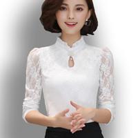 Wholesale Blusas Chiffon Black White - Plus Size Women Tops Chemise Femme Blusas Femininas Blouses & Shirts Women's Shirt Gray White Black Crochet Lace Elegant Blouse