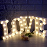 Wholesale 3d Sign Letters - Fashion LED Marquee Letter Lights 3D DIY Alphabet Light Up Sign for Wedding Brithday Home Party Bar Decoration Battery Powered A-Z 0-9