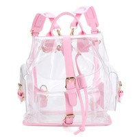 Wholesale Clear Pu Plastic Bag - Wholesale- Xiniu Women's Backpack Clear Plastic See Through Security Transparent Backpack Bag Ladies Travel Bag #GHYW